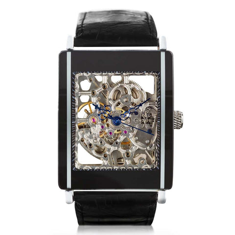 Front face of Black Ice by Boxer Watches. Auto mechanical skeleton watch