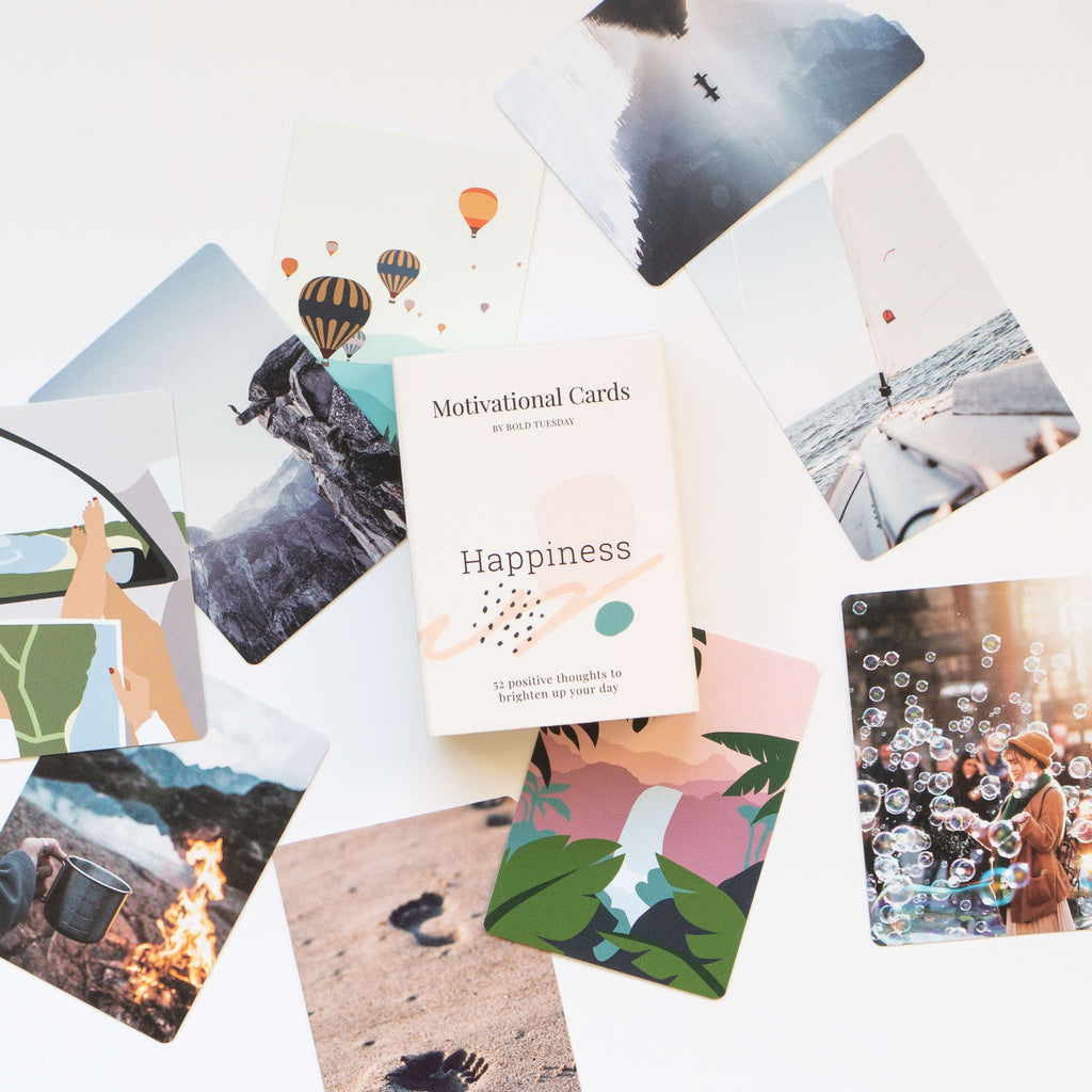 Motivational Cards Happiness, scattered photos