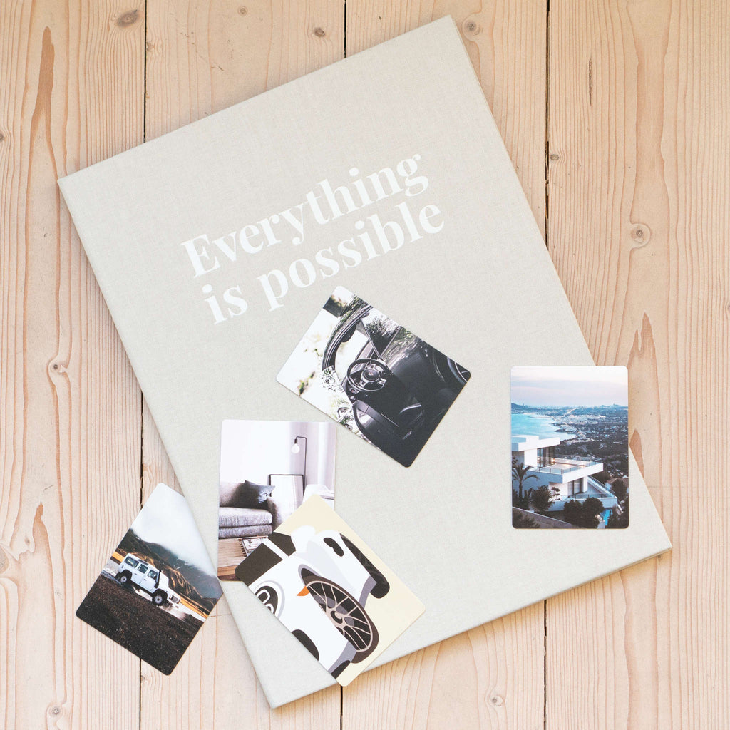 Classic grey vision board closed with photos
