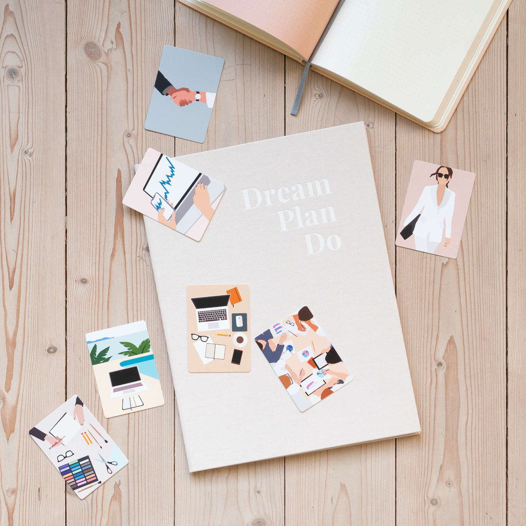 Pink closed vision board covers, notebook and illustration cards