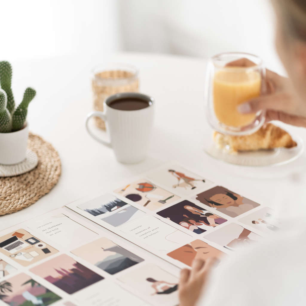 Vision board on breakfast table