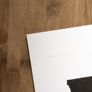 California State Art Print - Embossed Letters Paper