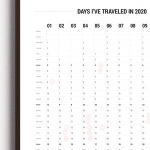 2020 Calendar: Days I've Traveled