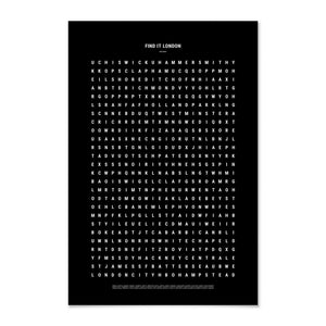 Black typographic travel poster of London on a white background