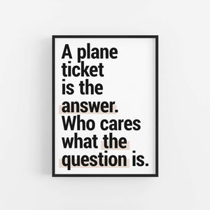 """Plane Ticket Is The Answer""  - Printable Travel Quote"