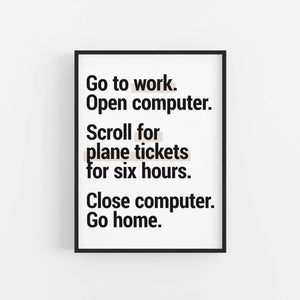 """Scroll For Plane Tickets"" - Printable Travel Quote"