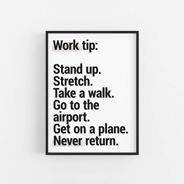 """Work Tip"" - Printable Travel Quote"