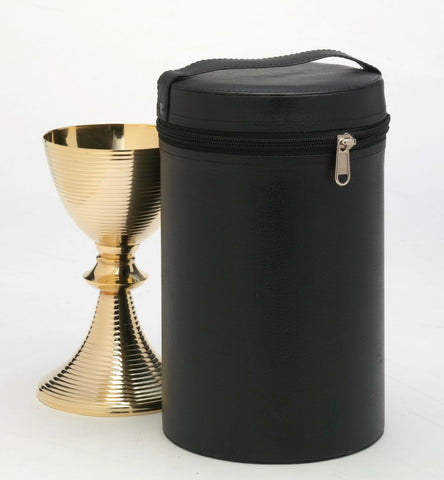 Chalice with Paten and storage/travel box.