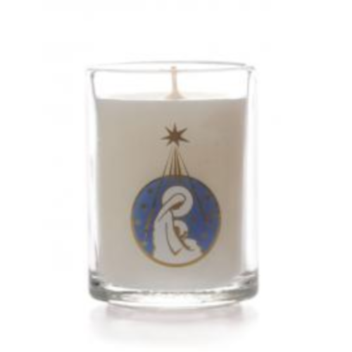 Round glass filled non scented Advent candle MARY/CHILD Design pack - 6
