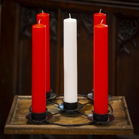 "Advent candle sets 2 x 15"" (5) in red/white"