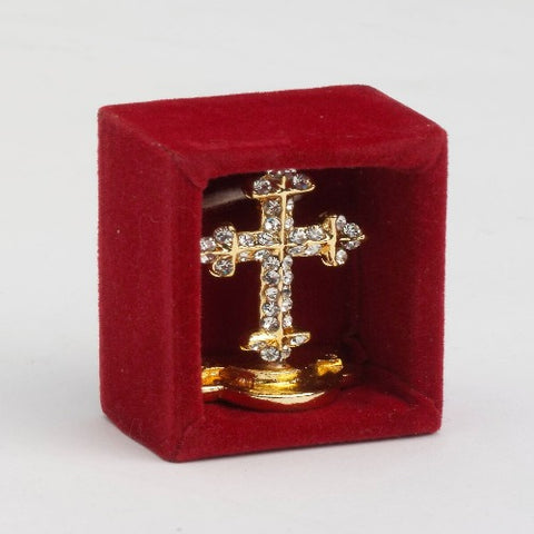 Small Gold Plated Cross with precious stones
