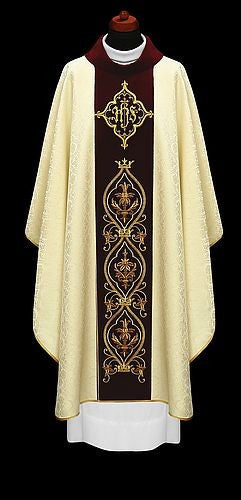 Chasuble damask style fabric & velvet panel