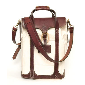 #711 leather handled bag and backpack combo
