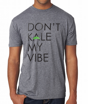 """Don't Kale My Vibe"" Crewneck Tee, Apparel, Green Mustache, Mustache Munchies, healthy organic vegan gluten-free snack crackers"