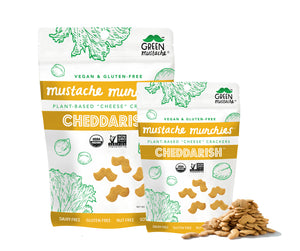 "Mustache Munchies ""Cheddarish"" Crackers, Snacks, Green Mustache, Mustache Munchies, healthy organic vegan gluten-free snack crackers"