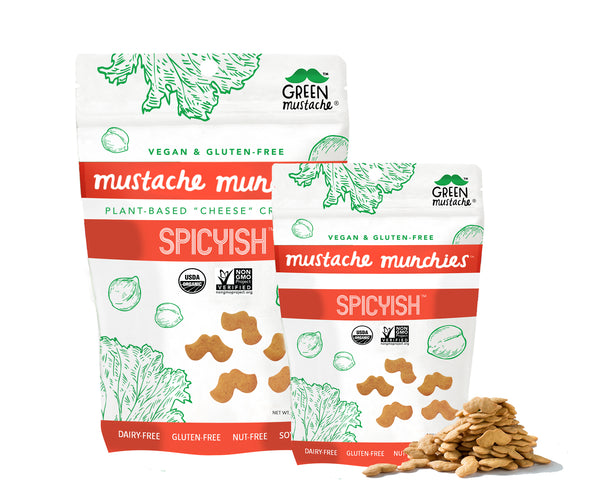 "Mustache Munchies ""Spicyish"" Crackers, Snacks, Green Mustache, Mustache Munchies, healthy organic vegan gluten-free snack crackers"