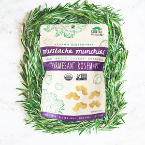 "Mustache Munchies ""Parmesan Rosemary"" Crackers, Snacks, Green Mustache, Mustache Munchies, healthy organic vegan gluten-free snack crackers"