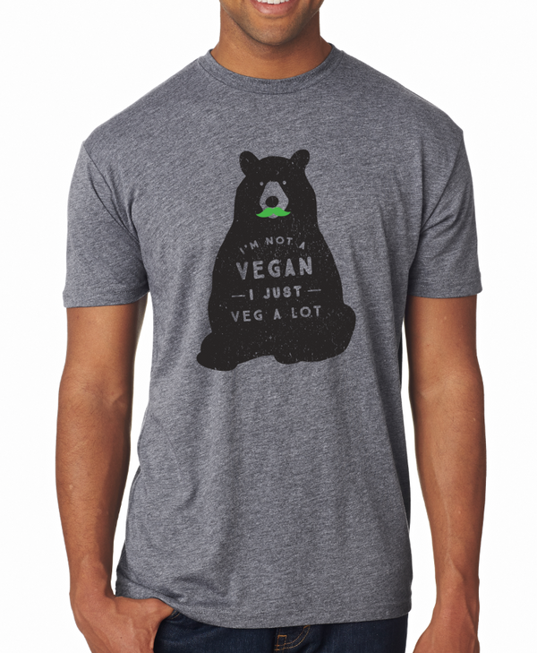 """I'm Not A Vegan, I Just Veg A Lot"" Crewneck Tee, Apparel, Green Mustache, Mustache Munchies, healthy organic vegan gluten-free snack crackers"