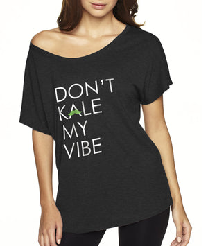 """Don't Kale My Vibe"" Dolman Tee, Apparel, Green Mustache, Mustache Munchies, healthy organic vegan gluten-free snack crackers"