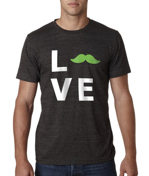 """Love"" Crewneck Tee, Apparel, Green Mustache, Mustache Munchies, healthy organic vegan gluten-free snack crackers"