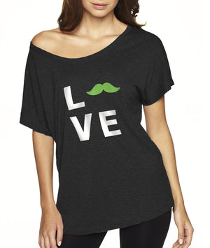 """Love"" Dolman Tee, Apparel, Green Mustache, Mustache Munchies, healthy organic vegan gluten-free snack crackers"