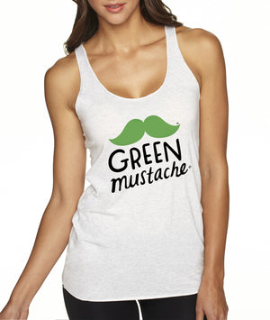 Green Mustache Tank, Apparel, Green Mustache, Mustache Munchies, healthy organic vegan gluten-free snack crackers