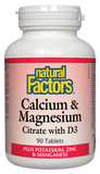 Natural Factors Calcium & Magnesium Citrate with D3 - 90 Tablets