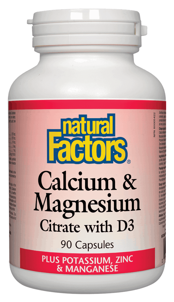 Natural Factors Calcium & Magnesium Citrate with D3 - 90 Capsules