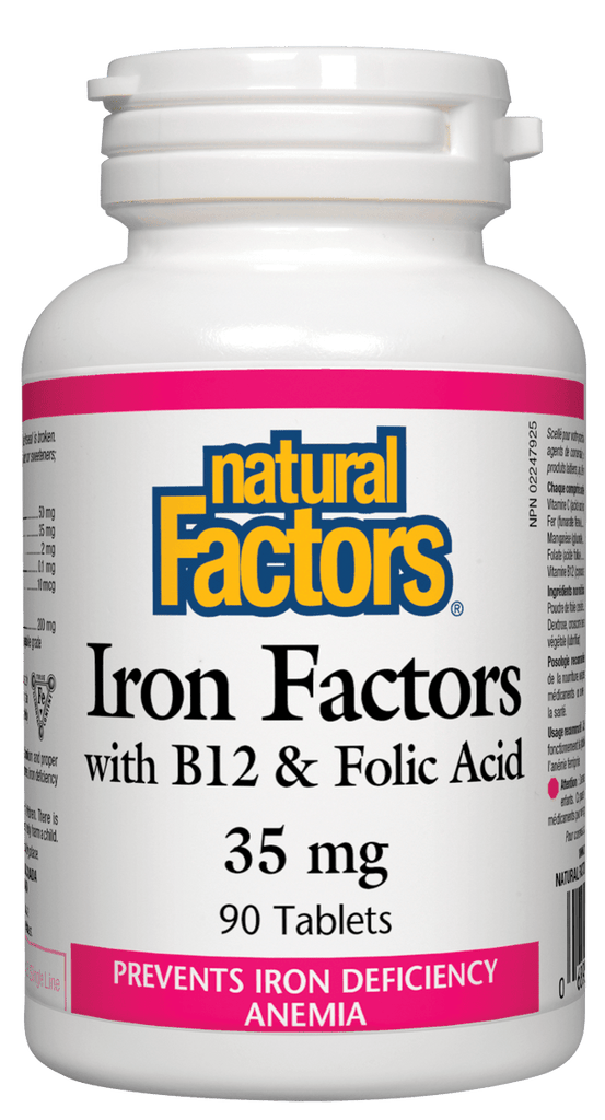 Natural Factors Iron Factors® with B12 & Folic Acid 35mg - 90 Tablets