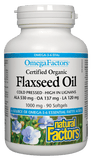 Natural Factors Certified Organic Flaxseed Oil 1000mg - 90 Softgels