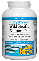 Natural Factors Wild Pacific Salmon Oil 1000mg - 180 Softgels
