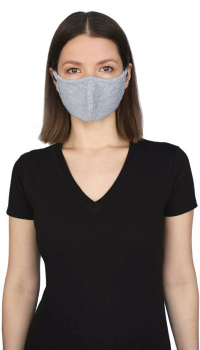 Jerico Bamboo/Cotton Adult Face Mask - Heather Grey