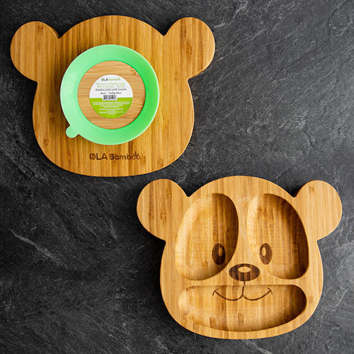 Ola Bamboo Kids Bamboo Plate With Suction Cup - Teddy Bear