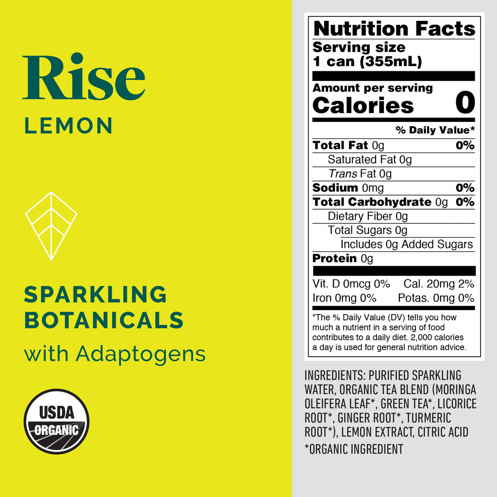 Kite Rise Moringa Lemon Sparkling Botanicals Beverage - 355ml