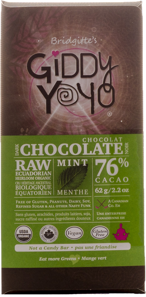 Giddy Yoyo Mint 76% Dark Chocolate Bar - 62g