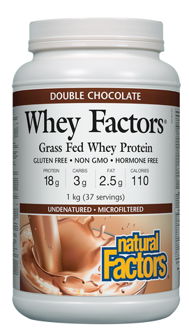 Whey Factors® 100% Natural Whey Protein Powder - 1kg Double Chocolate (37 Servings)
