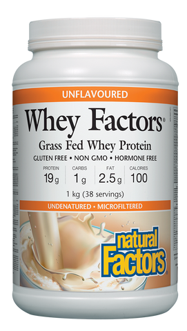 Whey Factors® 100% Natural Whey Protein Powder - 1kg Unflavoured (38 Servings)