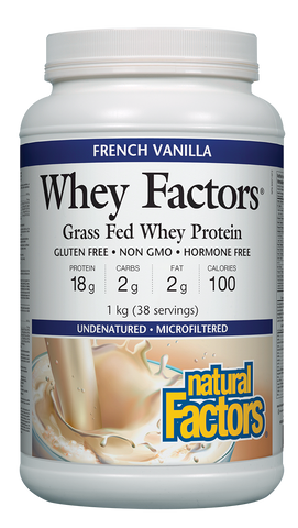 Whey Factors® 100% Natural Whey Protein Powder - 1kg French Vanilla (38 Servings)