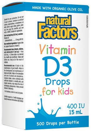 Vitamin D3 Drops for Kids - 400 IU 15ml Liquid