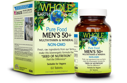 Pure Food Vegan Men's 50+ Multivitamin - 60 Tablets