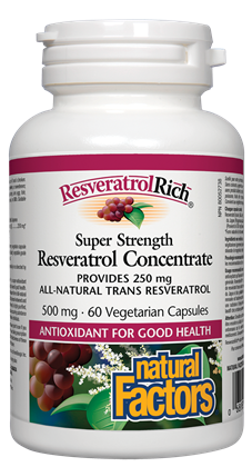 Natural Factors Super Strength Resveratrol Concentrate 500mg - 60 Capsules