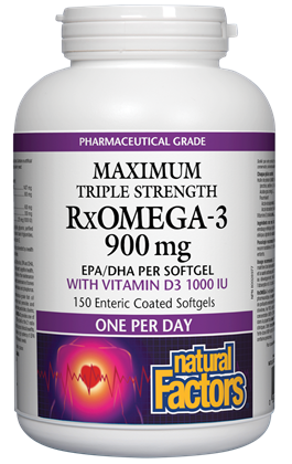 Natural Factors RxOmega-3 900mg with 1000IU Vitamin D - 150 Softgels