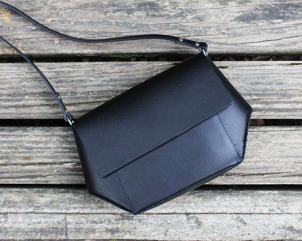 LORENA Mira Black Leather Crossbody Bag