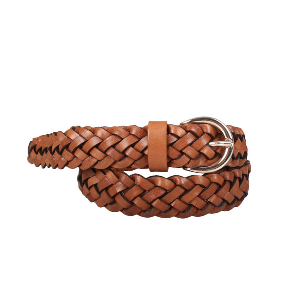 Rounded Buckle Braided Belt