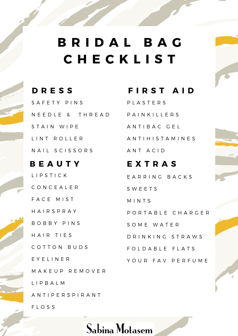 Minimalist elegant bridal gown designer, Sabina Motasem, gives the top things to have in your bridal emergency bag