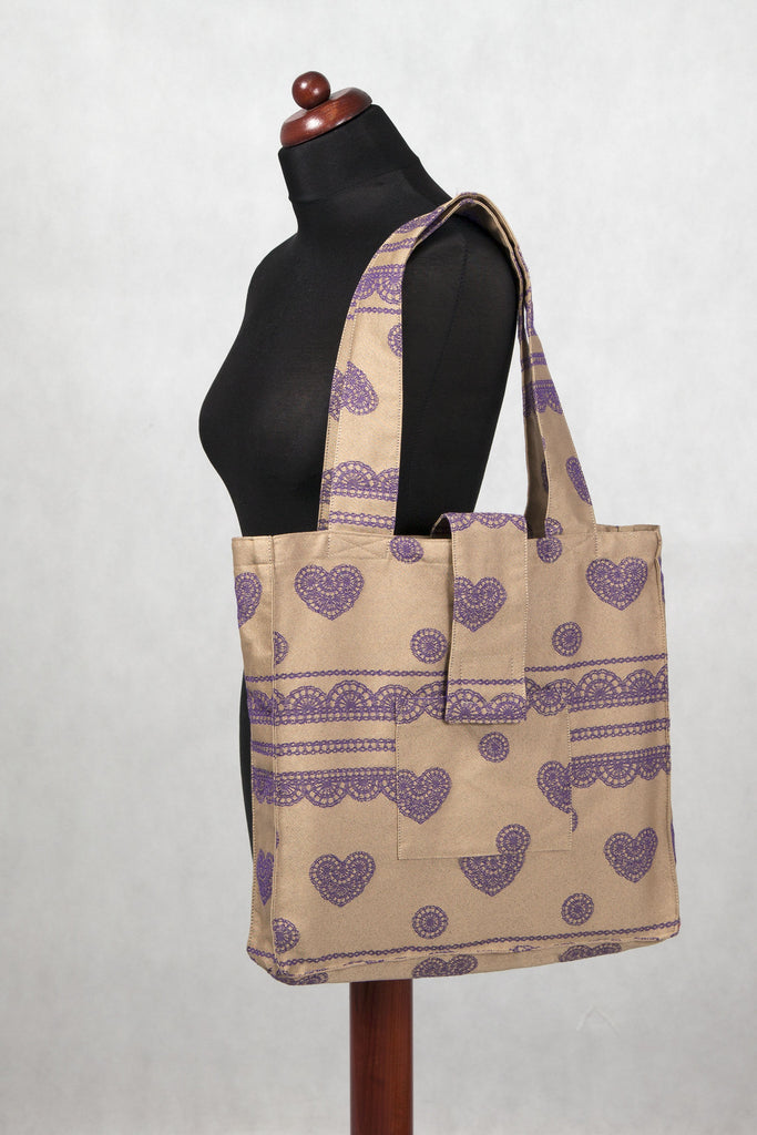 LennyLamb Shoulder bag 60% Cotton 40% Polyester - Beige & Purple Lace - Fluff Mail