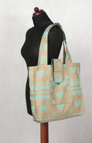 LennyLamb Shoulder bag 60% Cotton 40% Polyester - Beige & Turquoise Lace - Fluff Mail