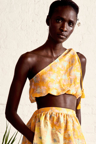 YUNA MARIGOLD ONE SHOULDER TOP