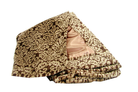 Damask Brown and Gold Cuddle with Brown Silky Satin