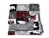 Cabin Quilt Scarlet with Plush Silver Cuddle (Shown with Silver Plush Cuddle)